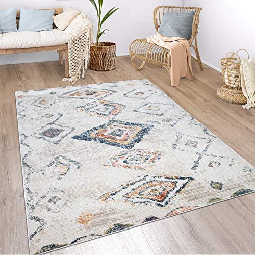 Paco Home Teppich Wohnzimmer Boho Ethno Marokkanische Muster Moderner Kurzflor Mit Struktur In Bunt Beige, Grösse:240x340 cm, Farbe:Mehrfarbig 3