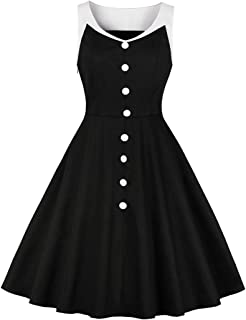 b915d5a7f605 Wellwits Women's Vintage 1940s 1950s V Neck Button Down Black Formal Dress