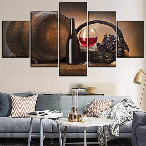 YXWLKG 5 Fotos Pinturas en Lienzo Cocina Arte de la Pared 5 Piezas Vino Tinto y Copas de Vino Imágenes HD Imprimir Oak Barrel Poster Decoración para el hogar