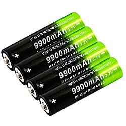 4PC 18650 Battery Rechargeable Button Top Batteries 9900mAh, 3.7V Lithium Lon Battery for LED Lights/Toys/MP3/TV Remote Controls/Alarm Clocks/Flashlight Torch/not aa Battery
