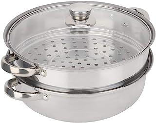 Olla de vapor, utensilios de cocina de diseño poroso de acero inoxidable de 2 capas Olla de vapor Olla de caldera doble Olla de vapor 27cm/11in