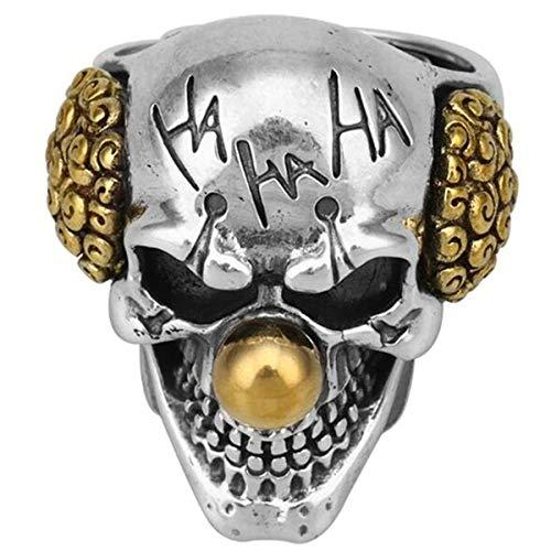 NA Anello esagerato di personalità da Clown Vintage Color Oro/Argento Joker Design del Viso Teschio Gotico Punk Rock Knight Biker