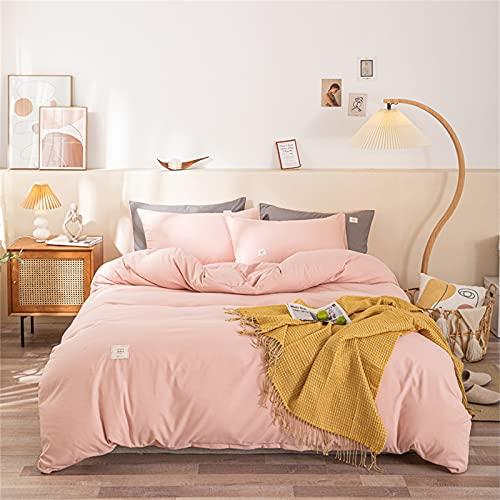 GSOEJ Bedclothes 4 piezas para cama doble Simplicidad almohada colcha colcha colcha cómoda transpirable algodón lavado rosa 1.5-1.8m traje de cuatro piezas (sábanas)