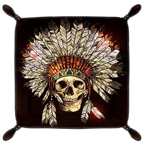 gdfgd Würfeltablett, faltbares Tablett aus PU-Leder für RPG Würfel, Gaming und andere Brettspiele, indischer Tribal-Totenkopf