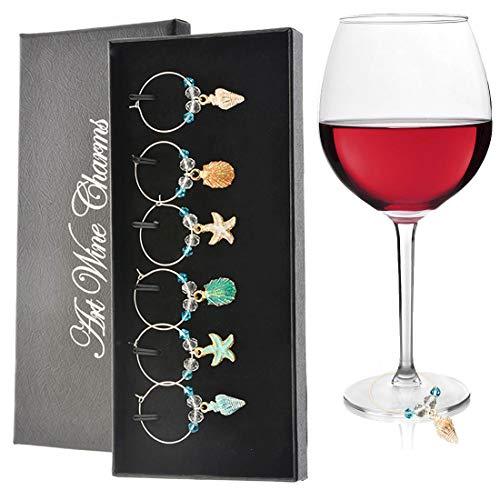 Greyoe 6pcs marcatori per bicchieri da vino segnabicchieri charms per bicchieri ciondoli per distinguere i bicchieri da vino anelli per pennarelli per bicchieri da vino per bar Natale feste
