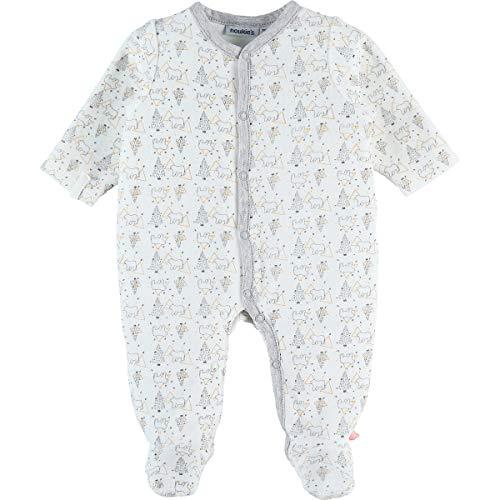 Noukie's Noukies GR-Z992130 Pyjama Strampler, bedruckt, Bär, Velours, Weiß Gr. 50, grau