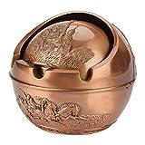 Wosune Cenicero Redondo, cenicero de Larga Vida útil con Material metálico para Uso en el hogar y el automóvil para Caja de Almacenamiento para una Hermosa decoración(7.5 * 7.5 Castle Copper Color)