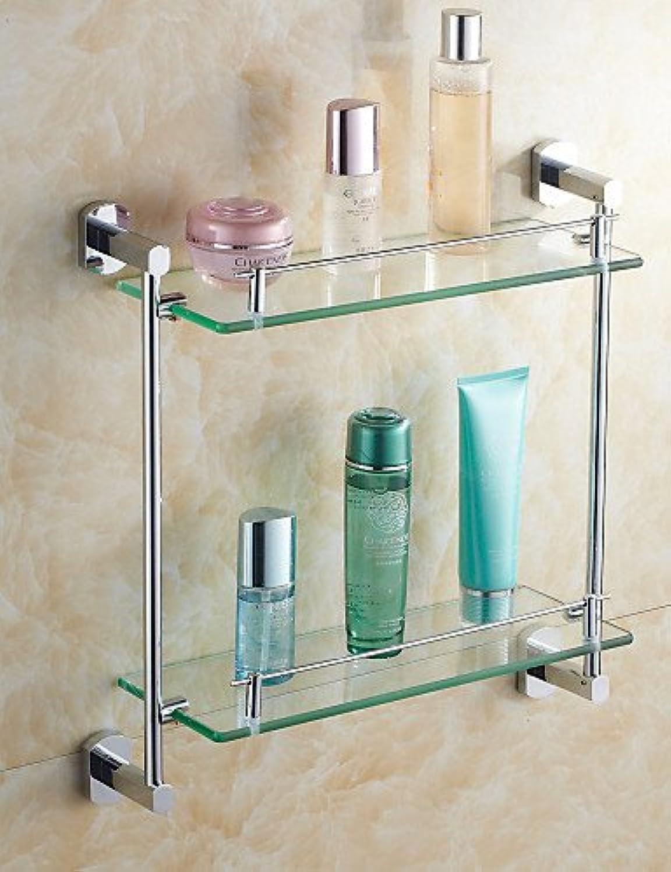 WYMBS Elegant Brass Material Chrome Finish Double-Deck Glass Bathroom Shelves