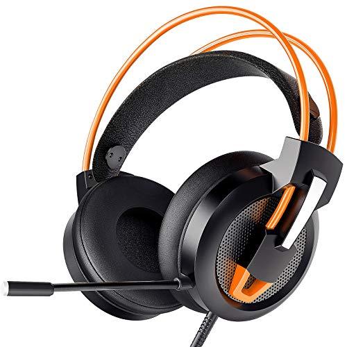Greatever Headset PC, Gaming Headset PS4 Xbox Headset mit Noise Cancelling Mikrofon, Bass Surround Sound, Kopfhörer für PC MAC Laptop IPad IPod Smartphone (Orange)