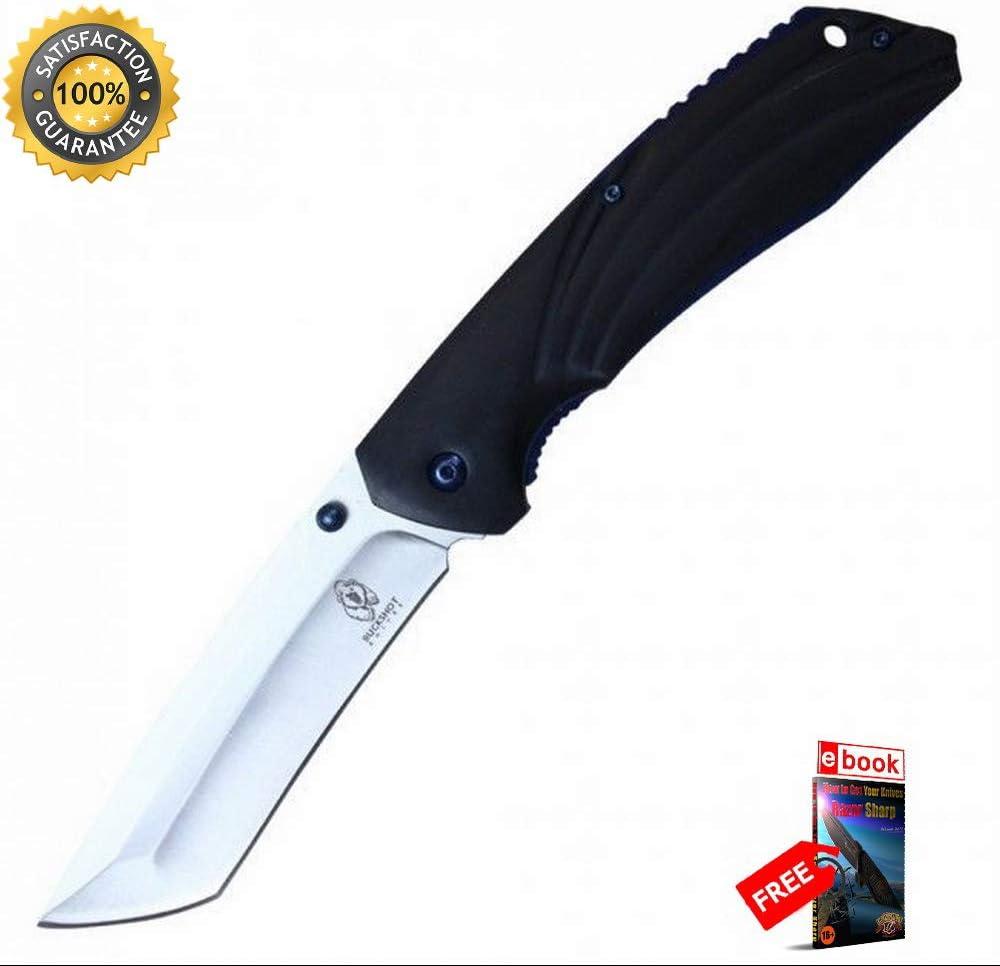 SPRING ASSISTED Folding 10%OFF Sharp 誕生日プレゼント KNIFE Wood Black Handle 3 Buckshot
