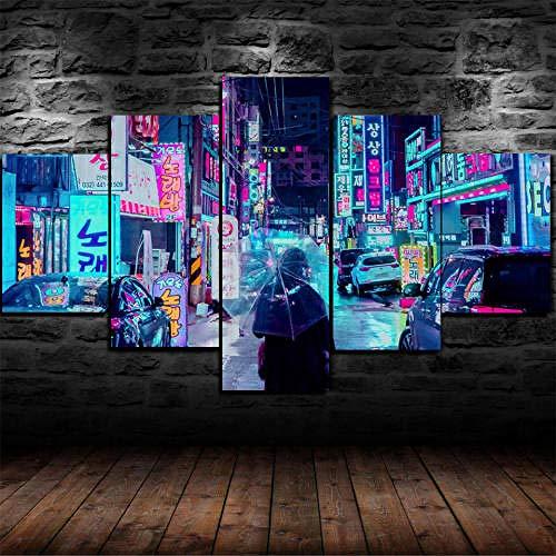 MENGLE Impresión HD Pintura 5 Piezas Cuadro En Lienzo,150X100Cm Cuadros Modernos Salón Decoracion De Pared Canvas Prints Wall Art Modular Poster Mural Decorativo Neon Night City Japón Regalo Navidad