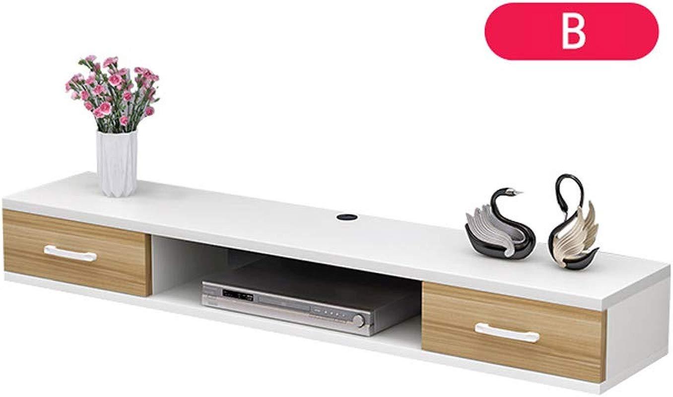HongTeng Modern Wall Mounted TV Cabinets Living Room Bedroom Set Top Box Racks Small Sized Wall Cabinets Bedroom Wall Cabinets Style B