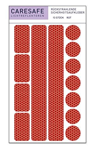 Caresafe Reflektierende Licht Reflektoren Aufkleber rot - 13 Reflektorenaufkleber Set für Kinderwagen, Fahrrad und Helme - Reflektor Leuchtaufkleber Sticker