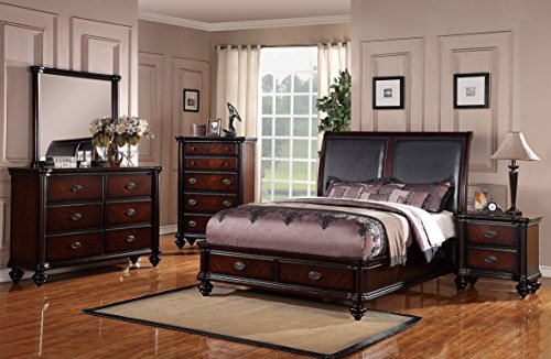 Esofastore Traditional Italian Design Bedframe Bedroom Furniture 4pc Set Queen Bed w Storage FB Dresser Mirror Nightstand Faux Leather HB Upholstery