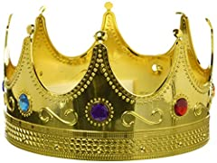 Unisex Gold King Crown for Kings & Queen's; Royal King Crown; King Crown for Men or King Crown for Women Prince's & Princess alike can sport this King or Queen's Crown, King Crown Hat; King Crowns for Kids or Adults; King Crown Perfect for King Costu...