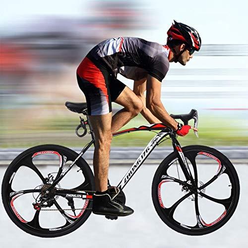 Saclmd Commuters Aluminum Blike Mountain Bike Full Suspension Road Bike 21 Speed Disc Brakes, 700c (Black)