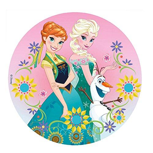 Dekora-231270 Decoracion Tartas de Cumpleaños Infantiles en Disco de Oblea Frozen con Anna y Elsa-20 cm de Diámetro, Multicolor (231270)