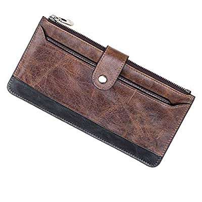 welltop Long Wallet for Men, Vintage Look Genuine Leather Men's Long Wallet, Long Wallet Organizer Checkbook Card Holder, Men's Slim Wallet Mens Long Purses Gift for Father Brothers Boy Friend, Brown
