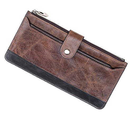 Welltop - Portafoglio da uomo in pelle bovina naturale, portafoglio segretario lungo, colore: marrone