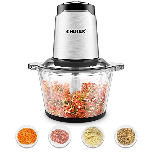 CHULUX Zerkleinerer elektrisch, Universalzerkleinerer, 1,8L Glasbehälter, herausnehmbares, 4-flügeliges Edelstahlmesser, 2 Geschwindigkeitsstufen, leise, für Fleisch, Obst, Gemüse und Babynahrung
