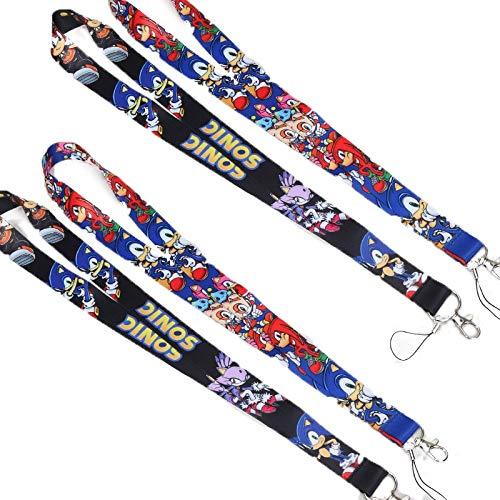 MIAOGE Giocattoli sonici 4 Pz / Lotto Sonic The Hedgehog Badge Holder Strap per Bambini Giocattoli Super Sonic Sonic Shadow Key Neck Strap Portachiavi