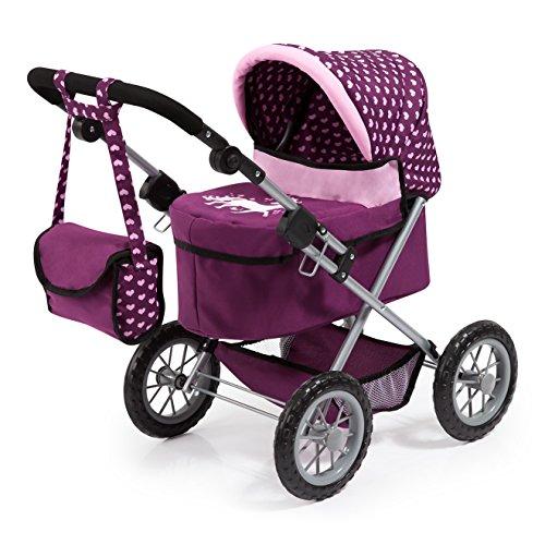 Bayer Design 13037AA Puppenwagen Trendy, höhenverstellbar, zusammenklappbar, mit Umhängetasche und integriertem Einkaufskorb, Pflaume, lila, rosa