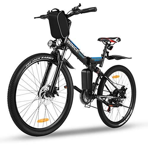 """Vivi Mountain Bike elettrica da 26\"""", Bici elettrica da Montagna Pieghevole, Batteria Rimovibile 36V / 8AH, Bicicletta elettrica a 21 velocità per Adulti, Totale Assorbimento degli Urti (Nero Blu)"""