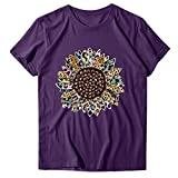 OPAKY Camiseta de manga corta para mujer, cuello redondo, estampado de girasol, estilo casual, camiseta de manga corta, violeta, XL