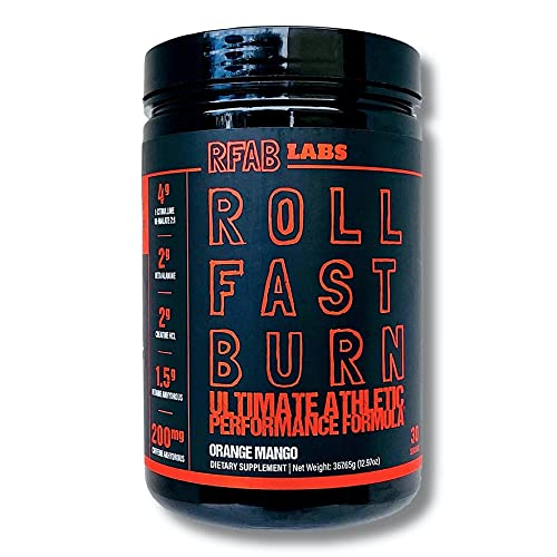 Roll Fast Burn - Ultimate Athletic Performance Formula, Pre Workout Supplement Powder, Natural Flavors, Orange Mango Flavored, 13 OZ 30 Servings, Made in US Supplement.RFAB