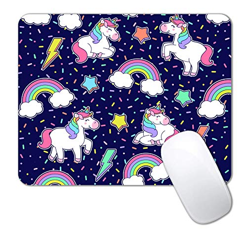IMAYONDIA Mouse Pad, Cute Rainbow Unicorn Mouse Pad for Kids, Pretty Kawaii Girls Custom Mouse Pads with Designs, Portable Women Office Non-Slip Rubber Base Wireless Mouse Pad for Laptop Mat