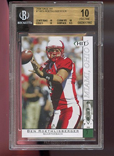 2004 Sage Hit #7 Ben Roethlisberger Graded ROOKIE Football Card BGS 10 Pristine