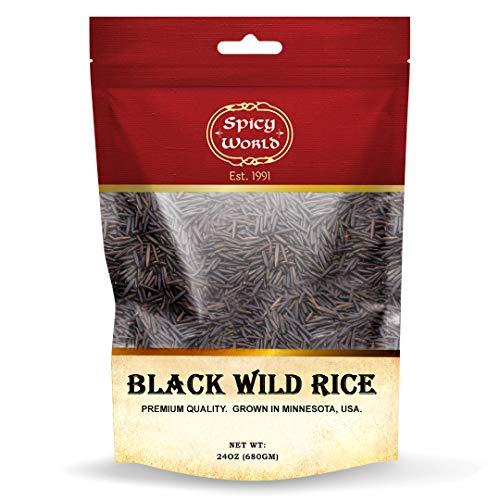Minnesota Grown Black Wild Rice 24oz Bag (1.5LB) - Premium Quality, All Natural - by Spicy World
