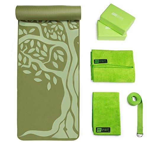 FIT SPIRIT Large Thick Yoga Mat Set w/Blocks, Towels, Strap