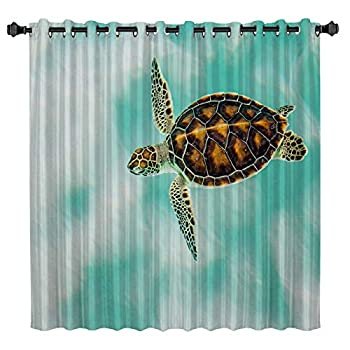 Custom Art Panel Sea Turtle Blackout Curtain by Ocean Animal Art Decor Window Draperies & Curtains for Apartment Bedroom Living Room Kitchen Cafe Office 52  W by 45  L
