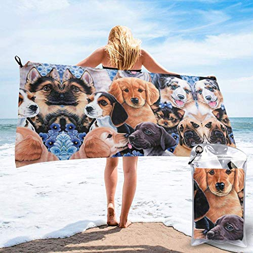FLDONG Toalla de secado rápido para cachorros con impresión de collage, ultra suave, compacta, ligera, adecuada para camping, gimnasio, playa, natación, yoga, hogar 81.5 x 163 cm