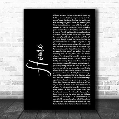 Edward Sharpe and The Magnetic Zeros Home Black Script Song Lyric Quote Music Print Print Wall Decor Art Gifts Lovers Poster