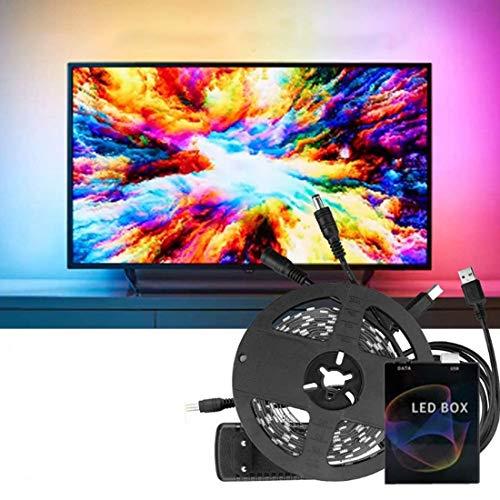 JJIIEE PC Dream Screen USB LED Strip, RGB Led Light Kit Sync with Music, HDTV Computer Monitor Backlight Lighting para TV Desktop PC Screen,30 Lights,5m