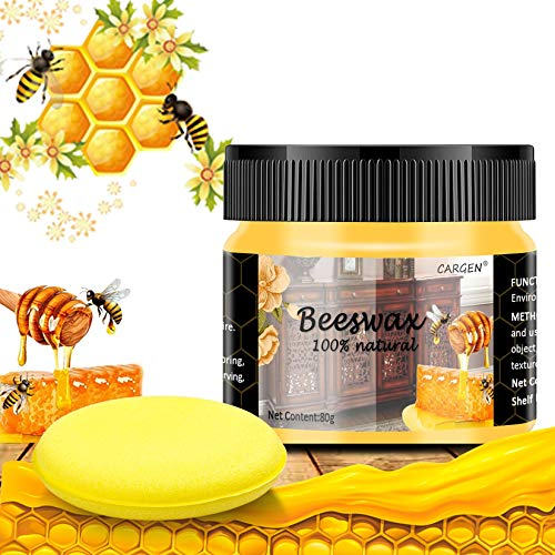 Beeswax Furniture Polish, Wood Seasoning Beeswax for Furniture CARGEN Wood Furniture Cleaner and Polish for Floor Tables Chairs Cabinets for Home Furniture to Protect and Care 1pcs Wood Wax and Sponge