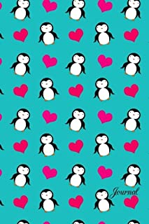 Journal: Turquoise hearts penguins notebook