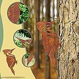 ZMLKDS Metallspecht Stahlspecht Dekoration Vogel Waldbewohner Gartenstecker Baumstecker Metall Rost rostige Gartendeko Specht Vögel Deko zum Schrauben mit Dornspitzen für Holz Garten Tierfigur