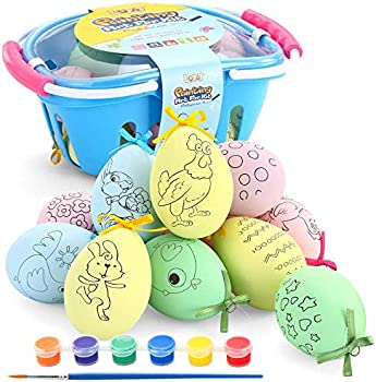 12-Piece LUKAT DIY Colorful Easter Eggs Coloring Kits with Basket