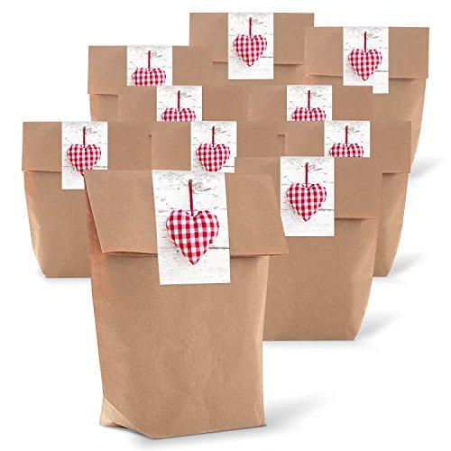 Logbuch-Verlag 25 kleine Gastgeschenk Verpackung HERZ rot weiß kariert Bayern romantisch rot weiß braun Kraftpapier Tüte natürlich verpacken Geschenke 14 x 22 x 5,6 cm