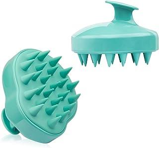 Shampoo Brush Hair Scalp MassagerWet Dry Hair Scalp Massage Brush Soft Silicone Comb for Men, Women, Kids and Pets - Green
