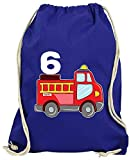 Hariz - Bolsa de deporte, diseño de camión de bomberos, 6 cumpleaños, color azul real, tamaño talla única