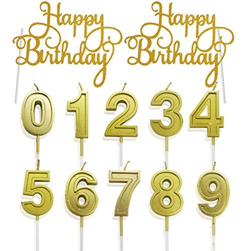12 Stück Geburtstag Cake Topper Zahl Kerzen 0-9 Happy Birthday Gold Glitter Tortendeko Nummer Kerzen Kuchen Topper Kuchendeko Tortenaufsatz Geburtstagskerzen Set Geburtstag Party Bäckerei Geschäfte