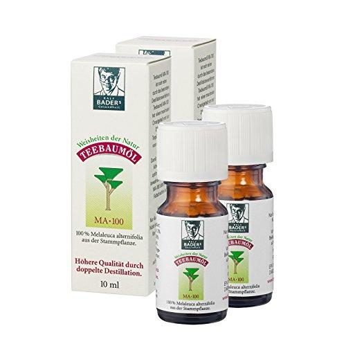 BADERs Teebaumöl. Der Klassiker aus der Apotheke. Doppelt destilliert. Desinfizierend. Australisches Melaleuca alternifolia. 2 x 10ml