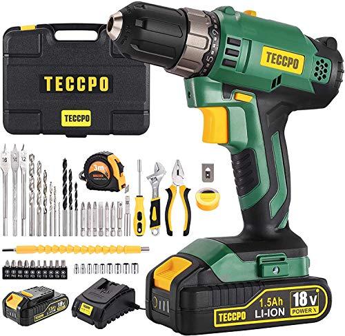 Taladro Batería, TECCPO Taladro Atornillador 18V, 2 Velocidad Ajustable Destornillador Eléctrico avanzado,...