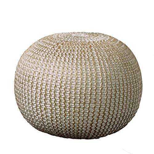 """L.R. Resources Fairbanks Bone Knitted Pouf Ottoman, 1'4"""" x 1'8"""", Ivory/Gold -"""