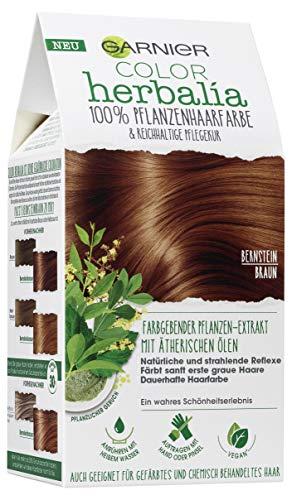 Garnier Color Herbalia Bernsteinbraun, 100% pflanzliche Haarfarbe mit Henna, Indigo und Cassia, natürliches Colorieren, vegan 3er Pack(3 x 164 g)