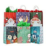 24 pcs Christmas Kraft Gift Bags with 24 Tissue Papers, Holiday Paper Gift Bags,Party Favors Goody Bags, Xmas Presents, Classrooms and Wrapping Stocking Stuffers (Merry Christmas A)